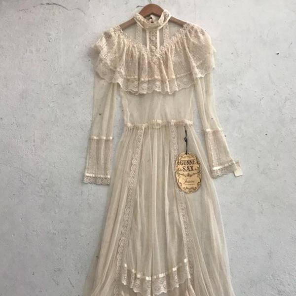 Sheer Gunne Sax Lace Dress *deadstock*