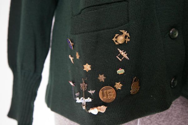 60s green letterman with army pins