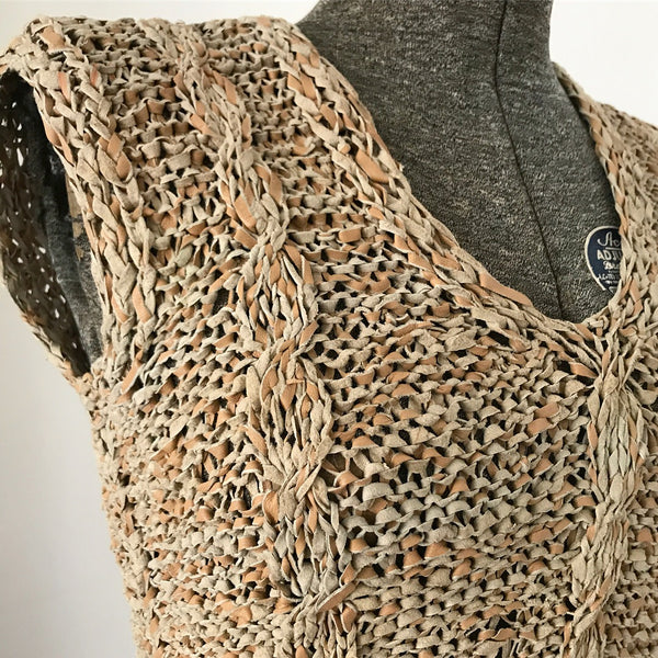 Sleeveless Beige Crochet Leather Top
