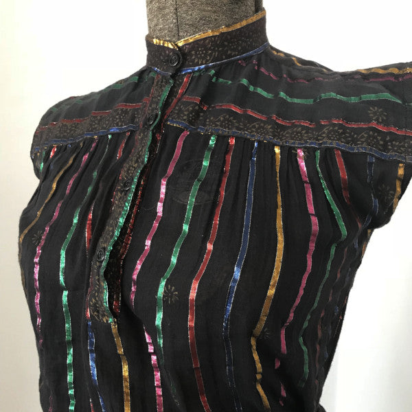 Rainbow Lurex Indian Gauze Blouse