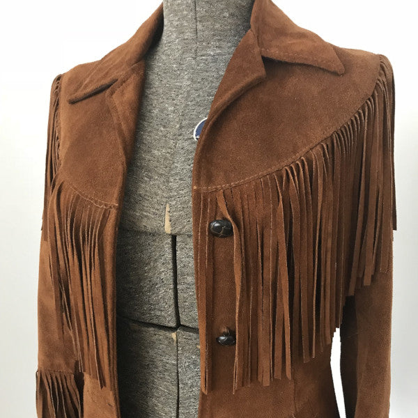 70's Brown Suede Jacket with Fringe