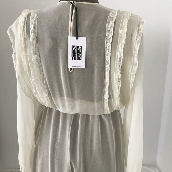 70's Sheer Creme Chiffon Dress