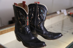 Black Butterfly Cowboy Boots