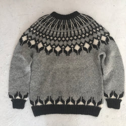 Vintage Oversized Grey Fair Isle Hand Knit Sweater