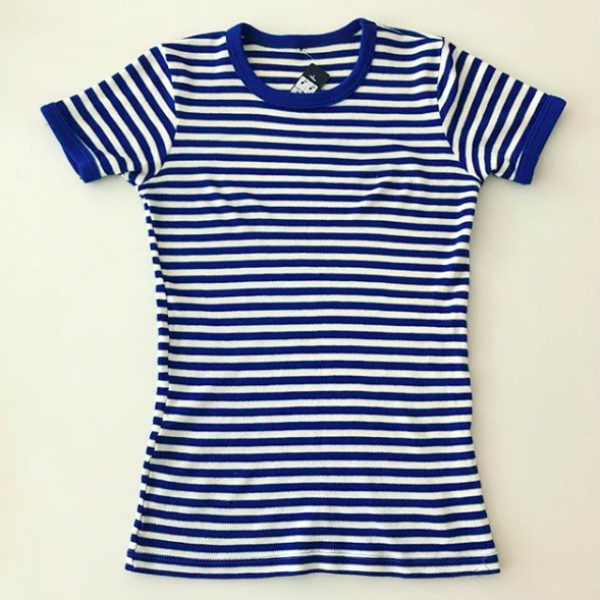 Blue and Creme striped Russian Sailor Shirt