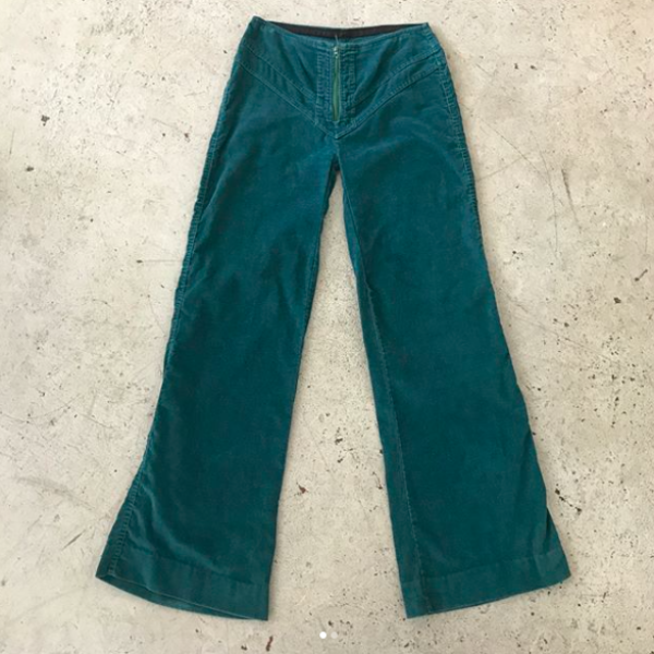 Teal Corduroy 70s Pants
