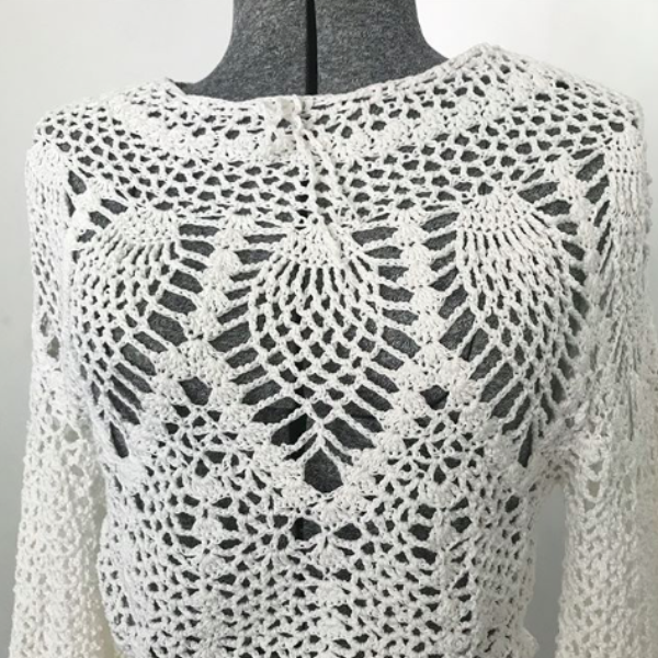 60's Crocheted White Tunic top