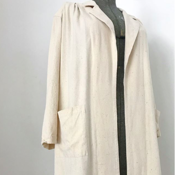 80's Raw Silk Creme Duster Coat