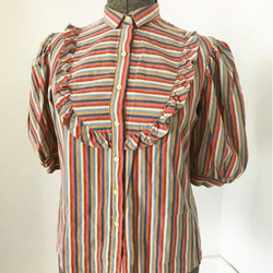 Striped Ruffle Prairie Blouse