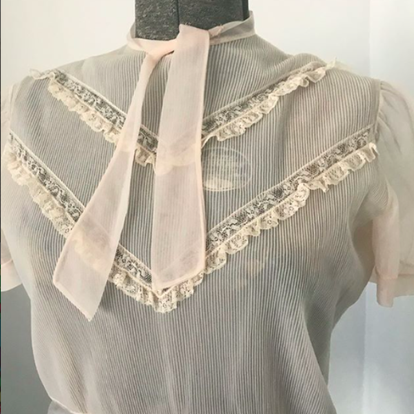 1950's Pink Sheer Blouse with tie neck