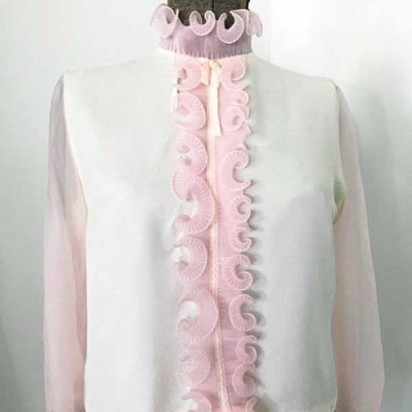 1960's Pink Tuxedo blouse with sheer sleeves