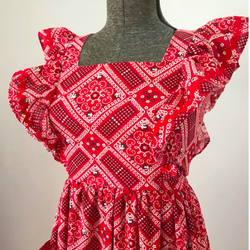 1970's Red Pinafore Style Dress Handkerchief Print