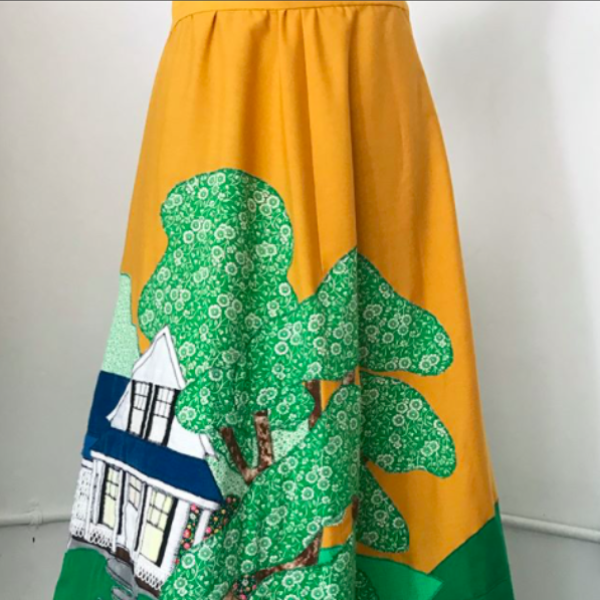 Yellow Maxi Skirt with Applique Country Scene