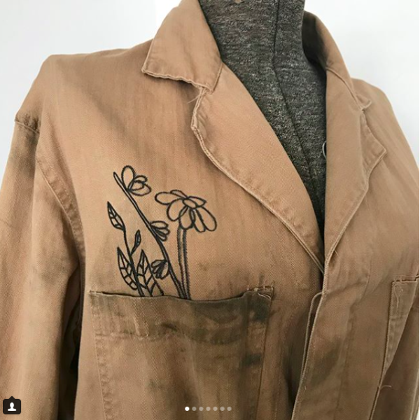 Tan Work Coat with Hand Drawn Doodle Art