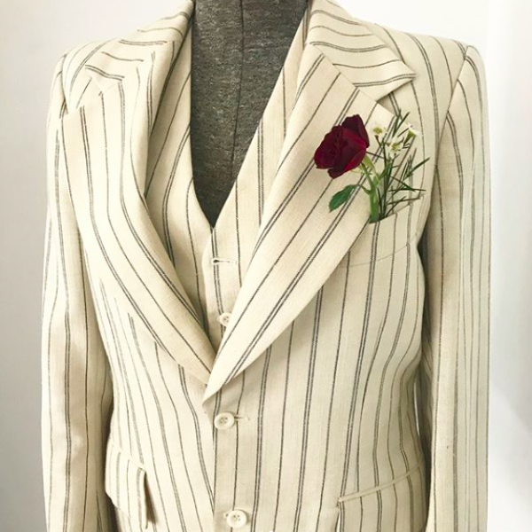 Linen 3-Piece Creme Suit with Blue Stripes