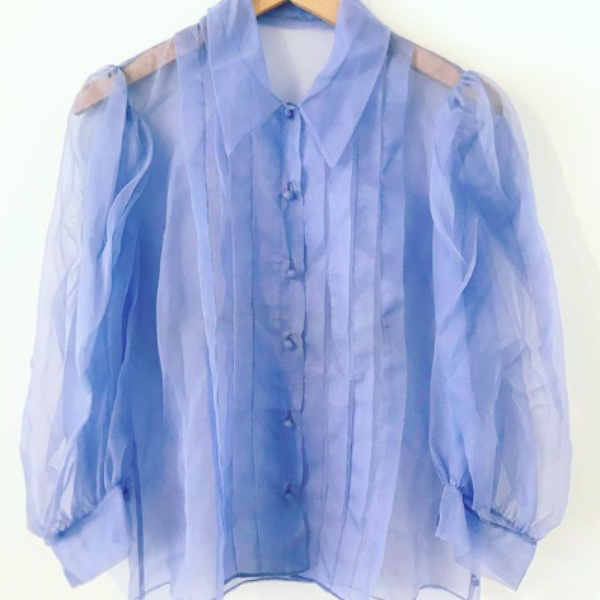 Blue sheer puff sleeve blouse