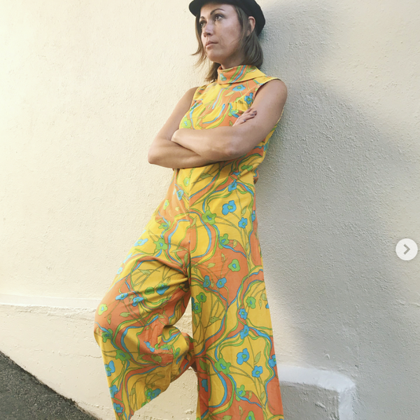 1960's Cotton Jumpsuit with psychedelic print