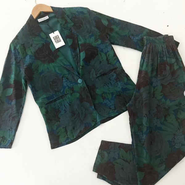 80's Dark Green and Purple Floral Pant Suit