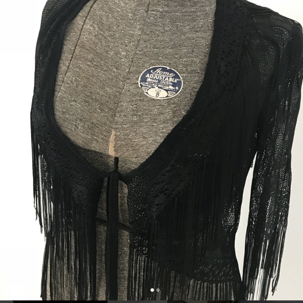 Black Lace Shawl with Fringe