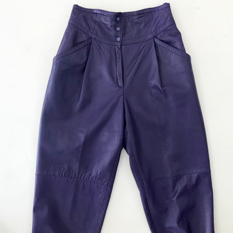 Purple Leather High Waisted Pants
