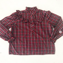 80s Red Plaid Ruffle Prairie Blouse
