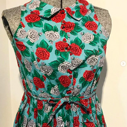 1980's Floral Dress with Ladybugs