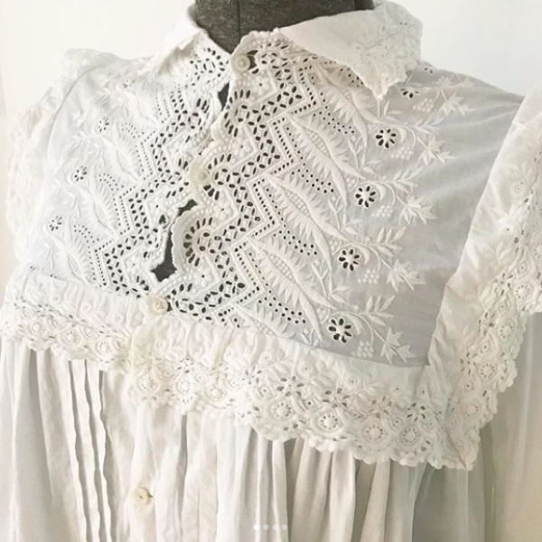 1900's White Night Dress with Crochet Collar
