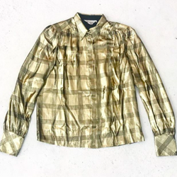 Liquid Gold Blouse with Black Plaid