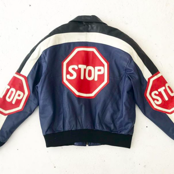 1980's Leather Stop Sign Jacket