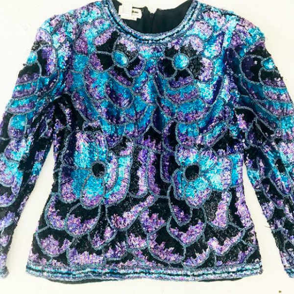 80's Purple and Blue Sequined Silk Blouse