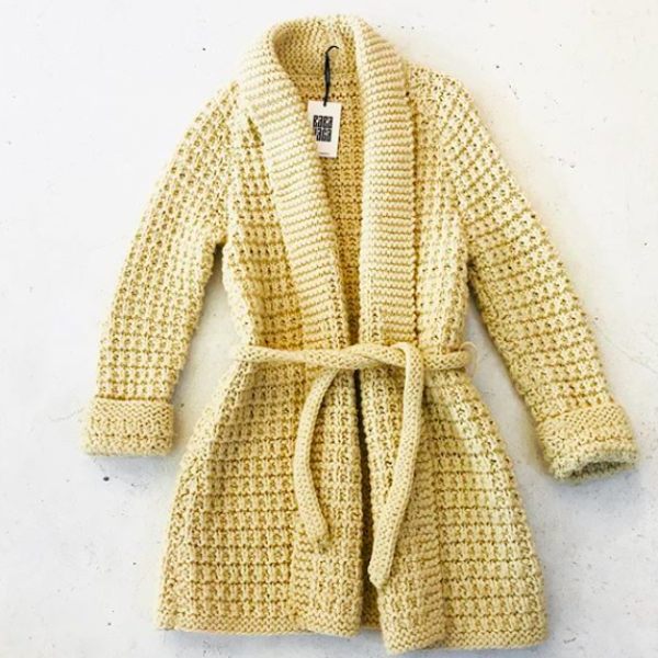 1970's Cream Hand Knit Chunky Cardigan Sweater