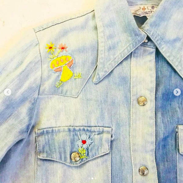 Embroidered cropped denim button-up