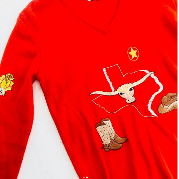 LeRoy Orange Texas Embroidered Sweater