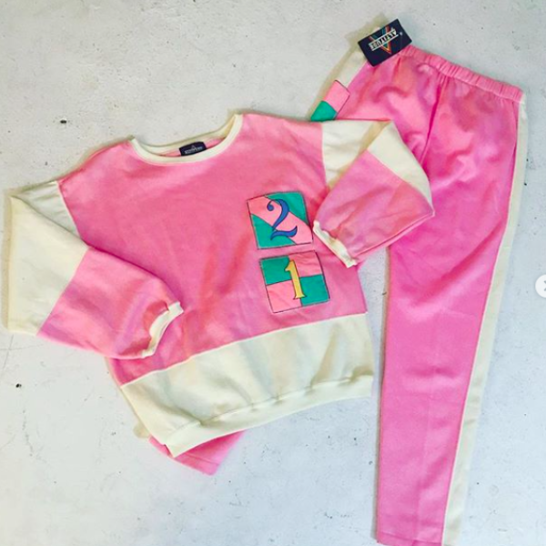 1980's Deadstock Pink Sweatsuit Set