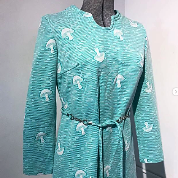 60's Green and White Mushroom Dress