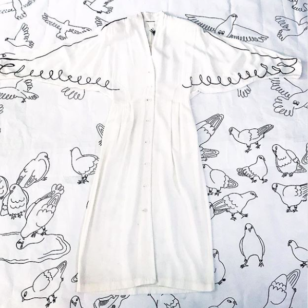 80's Dolman Sleeve Dress with Wings