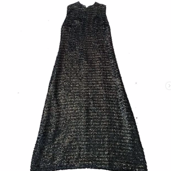 60's Black Sequin Maxi Dress