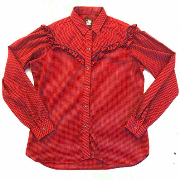 1980's Red Plaid Western Prairie Shirt with Ruffle