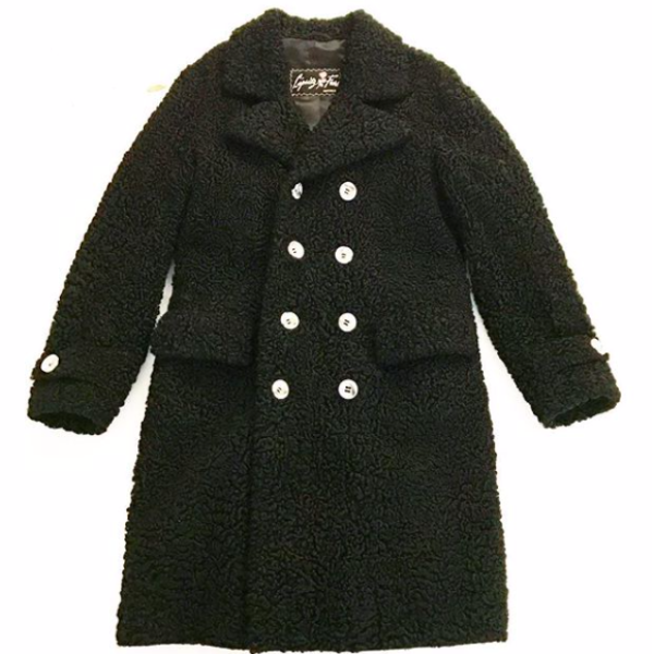 Curly Lamb Black fur Trench
