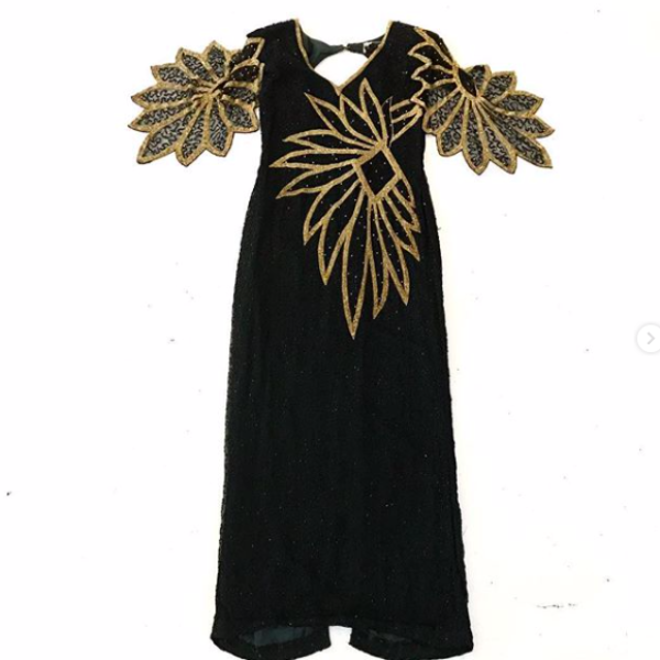 80's Black and Gold Beaded Evening Dress with Open Back