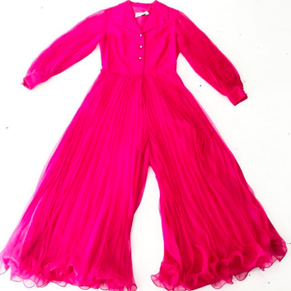 1960s Hot Pink Palazzo Jumpsuit