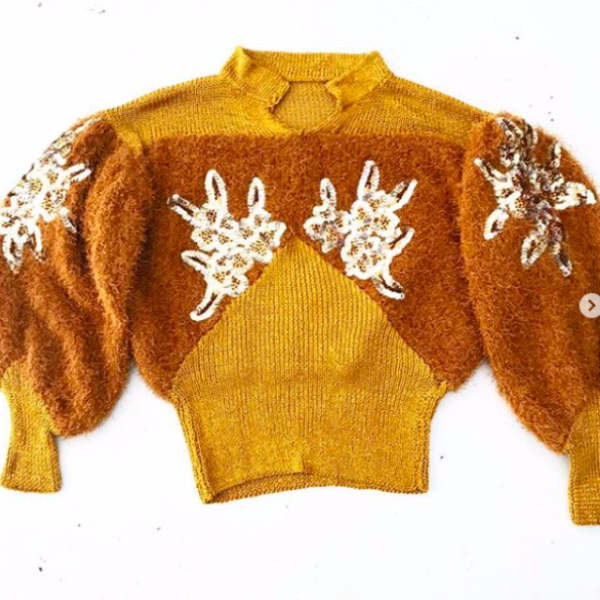 1980's Fuzzy Brown Sweater with Sequins