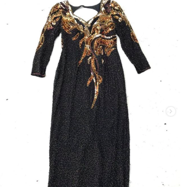 1980's Black and Gold Silk Beaded Maxi Dress