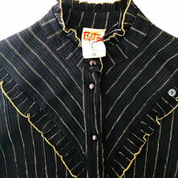 1970's Black Blouse with Ruffles and Gold Threads