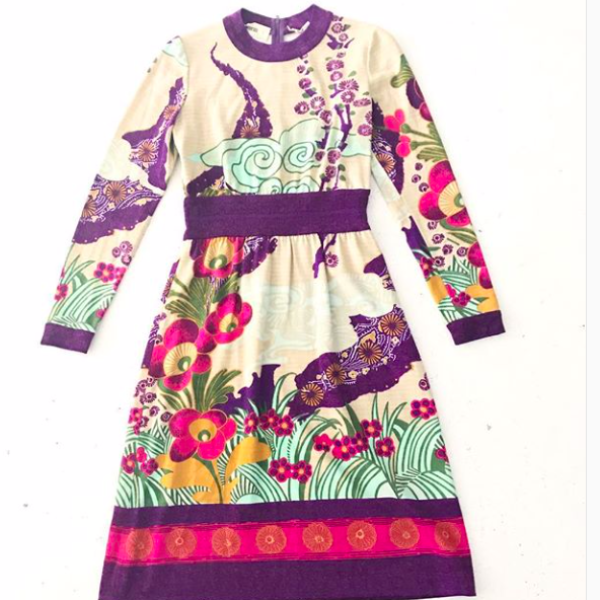 1970's Goldworm Wool Print Dress