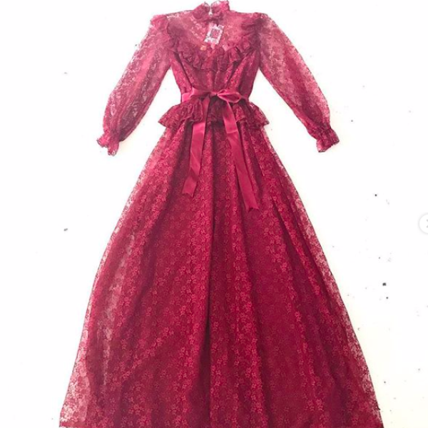 1970's Crimson Lace Prairie Dress