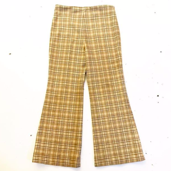 1970's Pale Yellow Plaid Pants