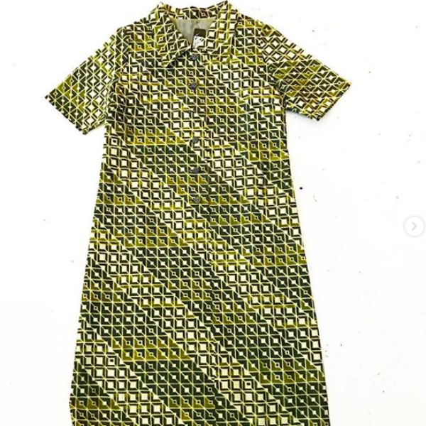 Raw silk Japanese Geometric Dress