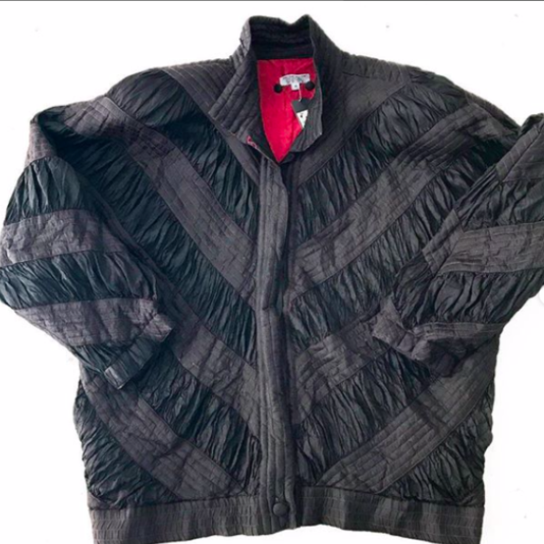Vintage Black Raw Silk Pleated Bomber Jacket