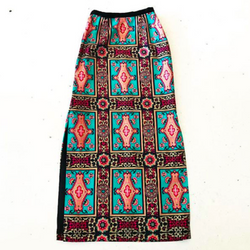 1970's Colorful Maxi Skirt with Slit & Velvet Trim